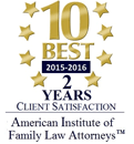 Evan Koslow has received the AIFLA 10 Best Award for 2 years in a row | Best 2015-2016 - 2 years Client Satisfaction - American Institute of Family Law Attorneys(TM)